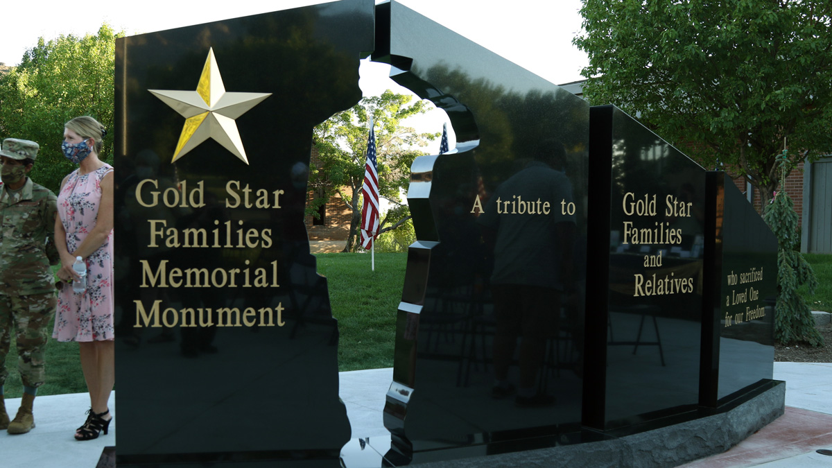 "The hollow cutout of a Soldier in a four-pillar Gold Star Family Memorial Monument was dedicated in North Ogden City at City Hall Aug. 1, 2020. This monument, designed and built by the Hershel ""Woody"" Williams Foundation and organized and funded by the Major Brent Taylor Foundation and the Follow the Flag Foundation North Ogden branch, is the 61st monument to be erected across the nation and the first of its kind in Utah. (U.S. Army photo by Cpt. Rory Mele)"